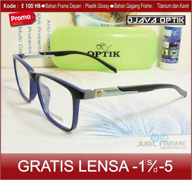 Frame Kacamata Ferari e100 + Lensa minus/plus/silinder Kacamata untuk pria dan wanita Kacamata Resep & Baca