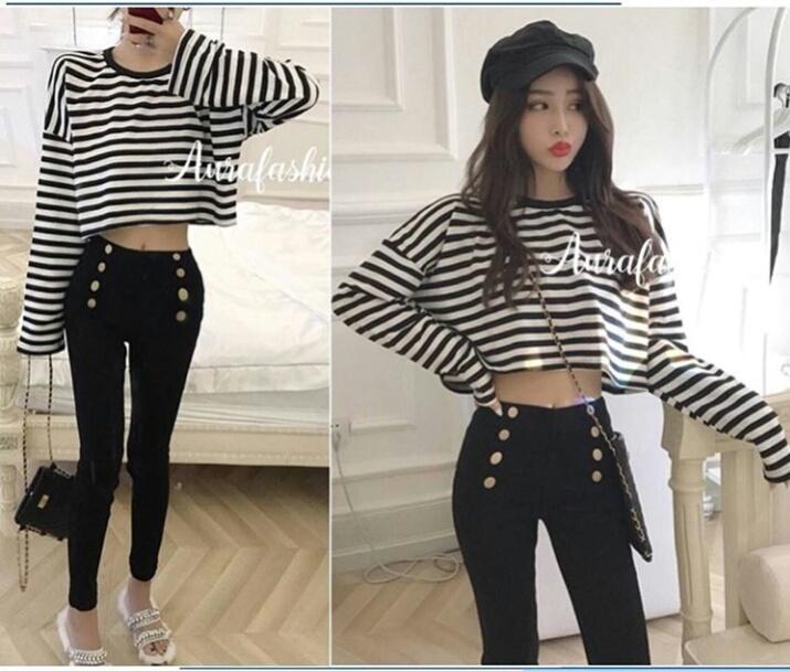 J&C Kaos Gia Stripe / Baju Pendek Wanita / Kaos Pendek / Atasan Model Crop Tee