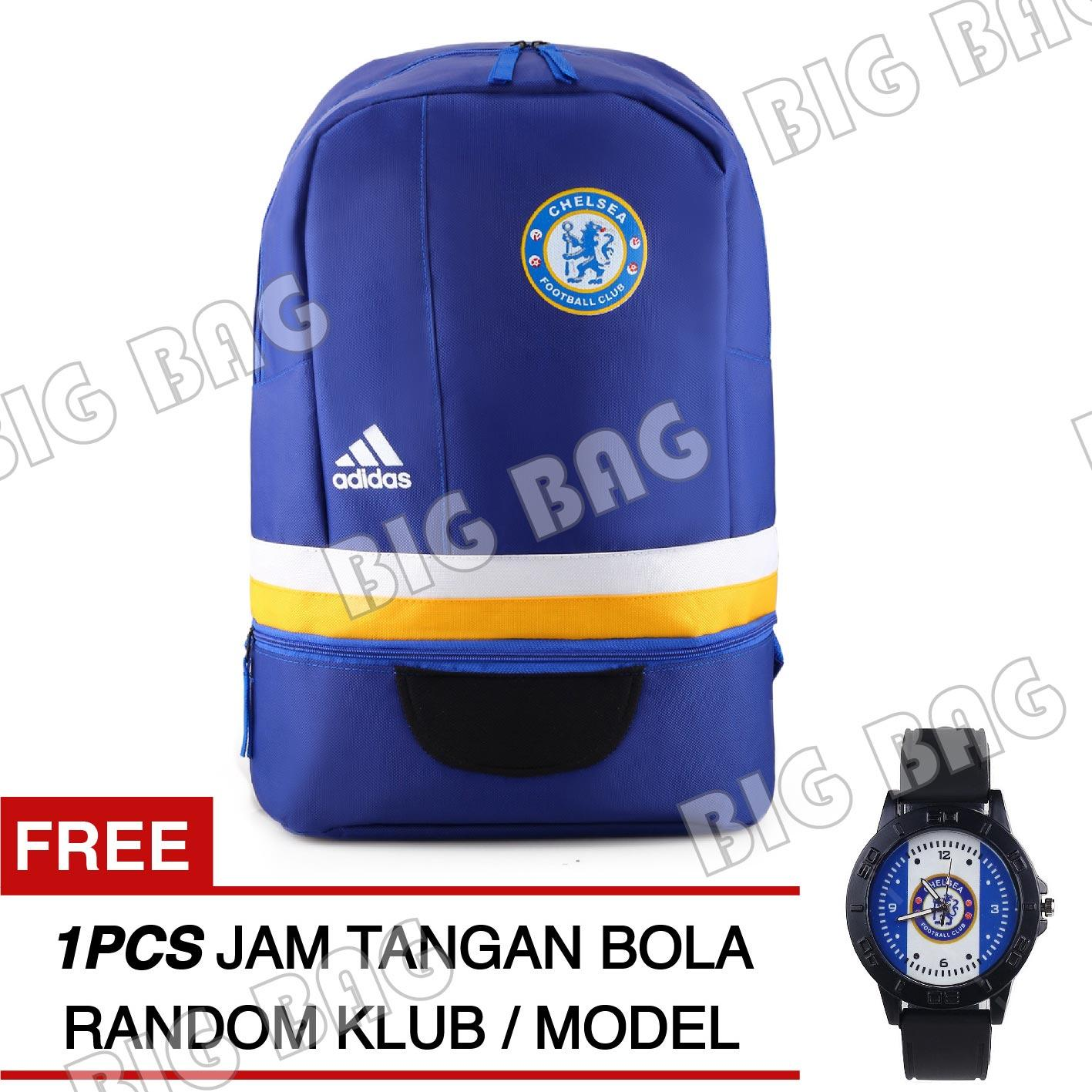 Tas Ransel Adidas Bola Chelsea  FC Laptop Backpack Men Soccer Editions CP02  - Blue + Raincover + FREE Jam Tangan Pria Random Color / Model