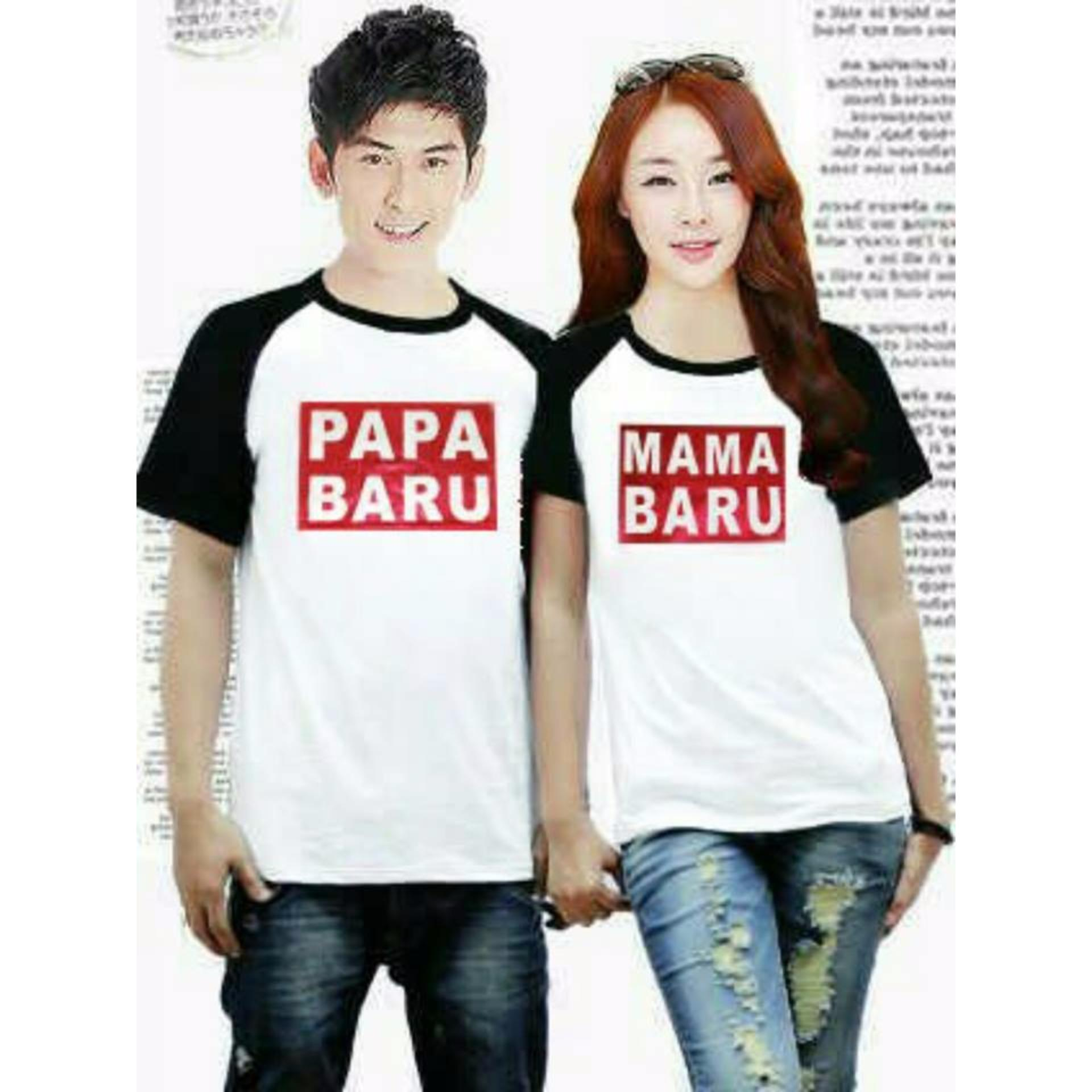 COUPLELOVER- KAOS KAPEL  KAOS COUPLE KIMONO PAPA MAMA BARU WHITE BLACK PD  (PRIA+WANITA)  T-SHIRTS COUPLE  BAJU FASHION  KAOS PASANGAN