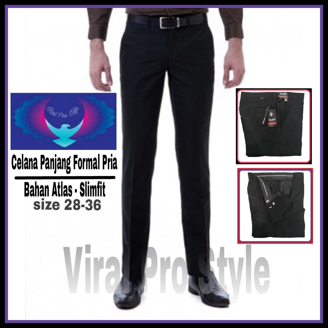 Viral Guido - PROMO - Celana Formal Panjang Pria Hitam Kerja Kantor Formal - Bahan Kain  Atlas  - Slim Fit