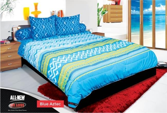 BEDCOVER SET MY LOVE BLUE AZTEC No.1 KING 180 T30 BCS ZIGZAG BED COVER Exclusive