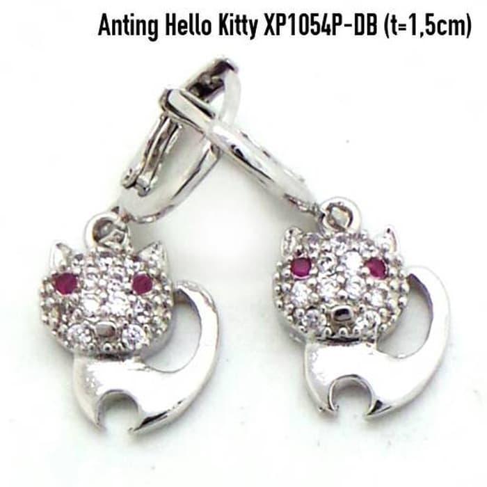 Anting Hello Kitty Perhiasan Lapis Emas Putih Aksesoris Wanita XP1054P