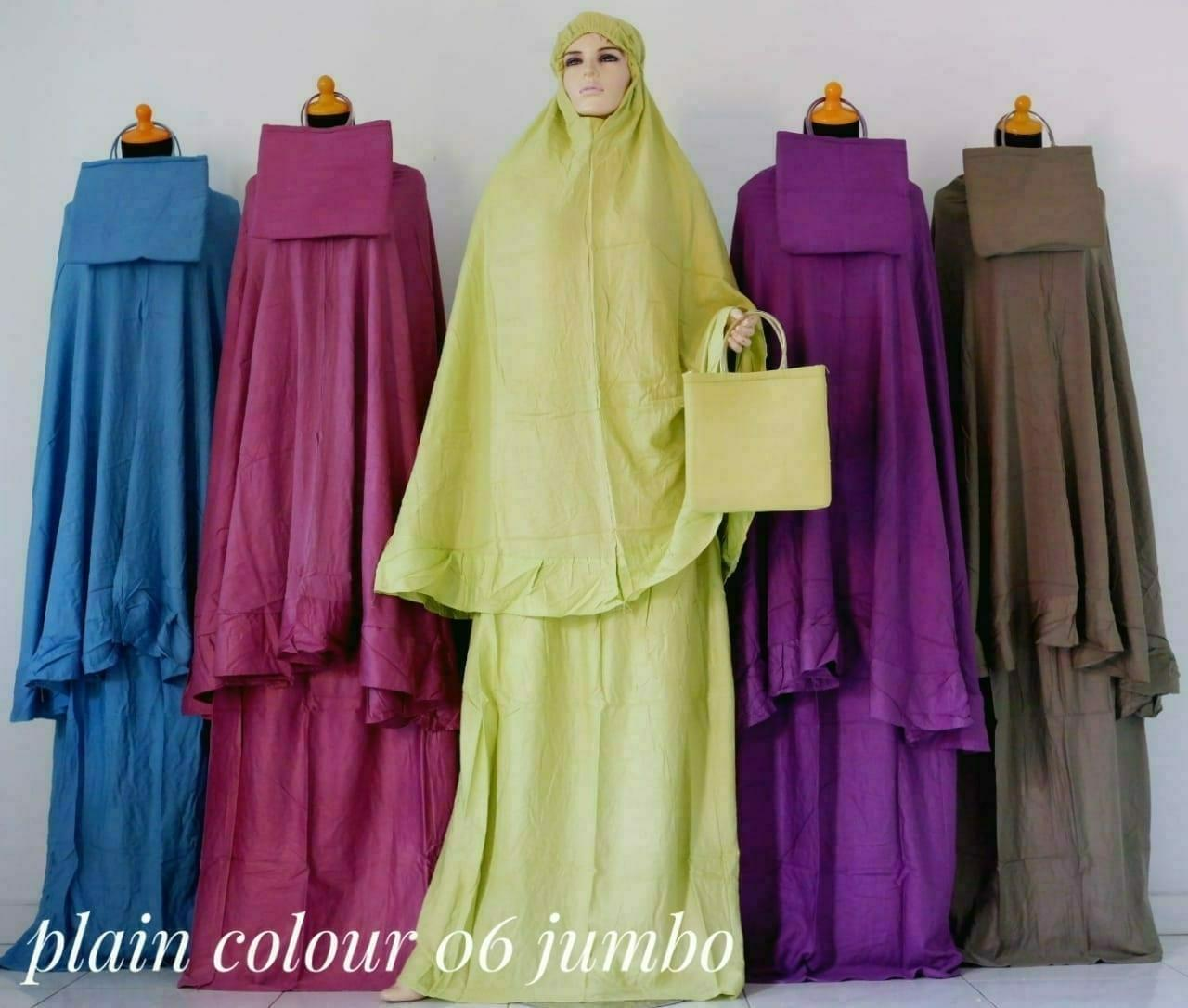 Mukena Bali Dewasa Bahan Rayon Premium Plain Colour 06 Jumbo - Azr Collection