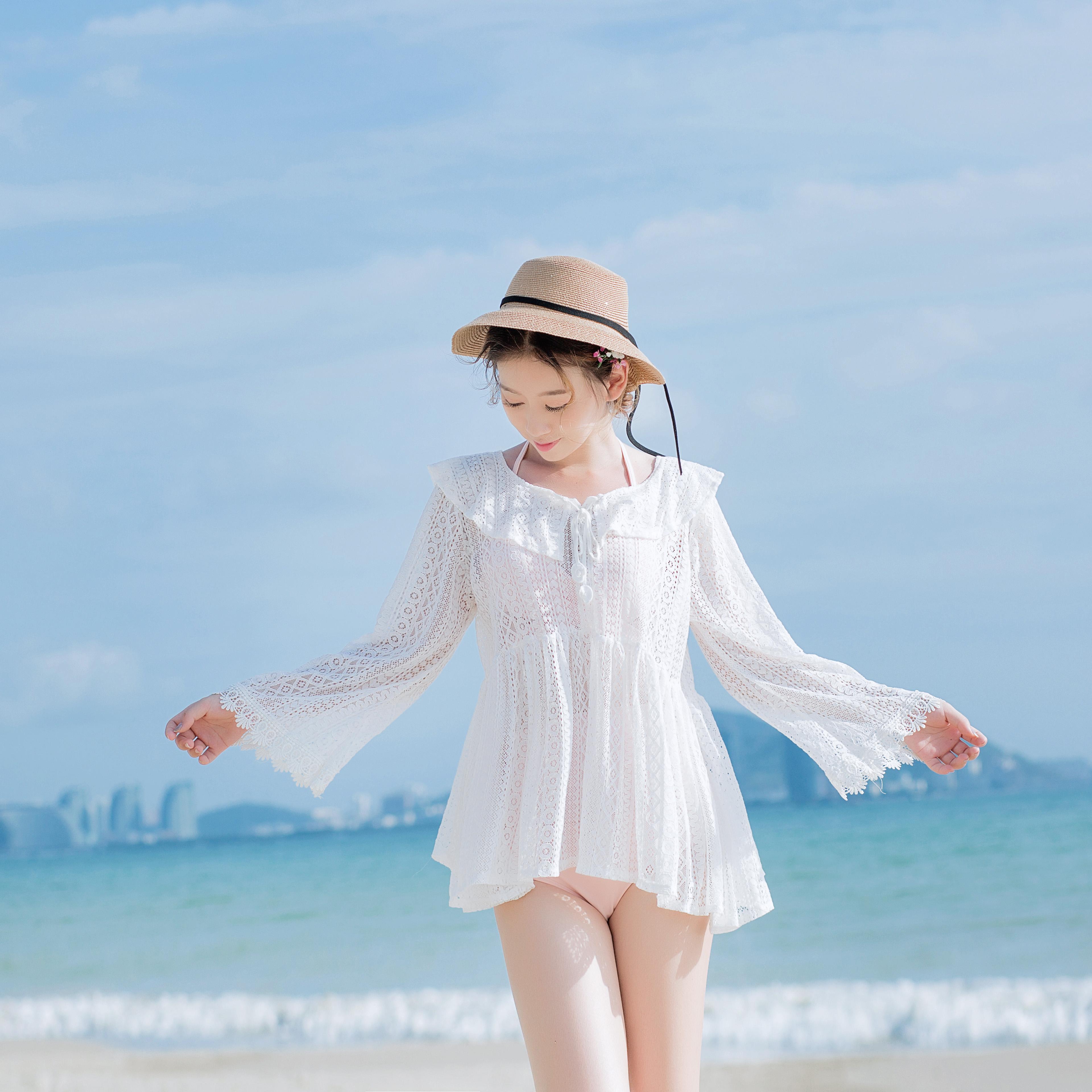 Pelindung Terik Matahari Bikini Blus Lengan Tanggung Tali Sepatu RESTONIC Berongga Kemeja Rajut Rok Luar Liburan