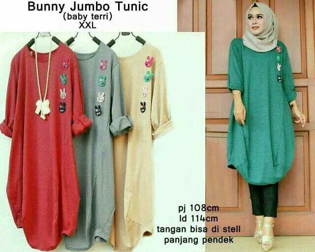 Bony jumbo tunic/baju tunic jumbo/atasan muslim bigsize murah