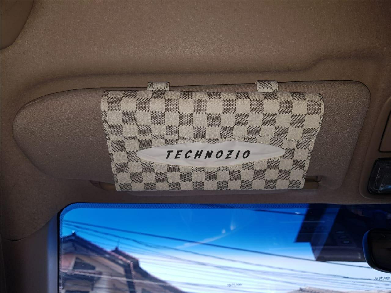 TECHNOZIO Tissue Sunvisor / Tempat Tissue Mobil Motif Cream Skak