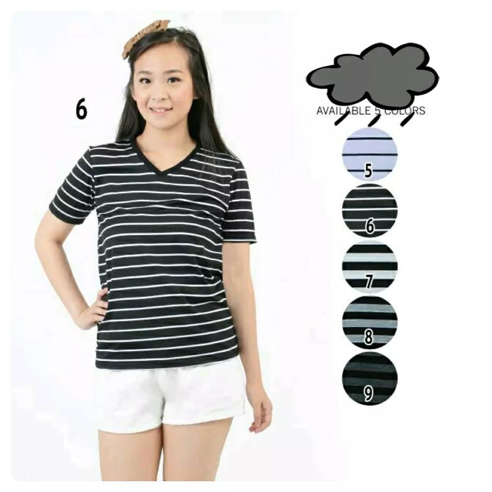 Baju Atasan Kaos Belang Cewek Wanita Lengan Pendek Santai - No. 7