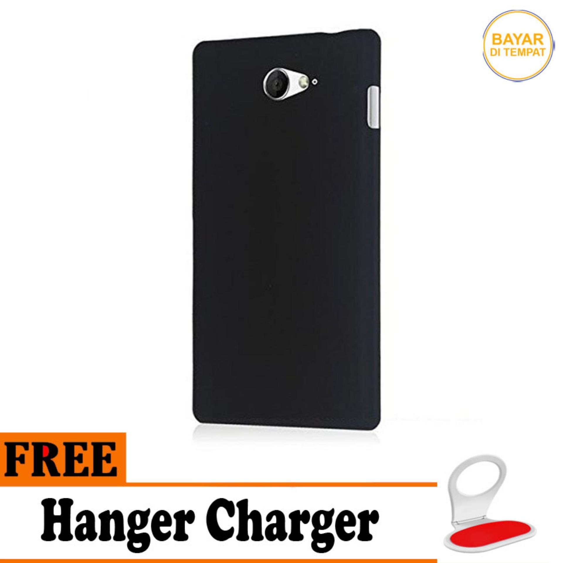 Case Matte Black Soft Slim Casing Handphone Sony Xperia M2 - Free Hanger Charger