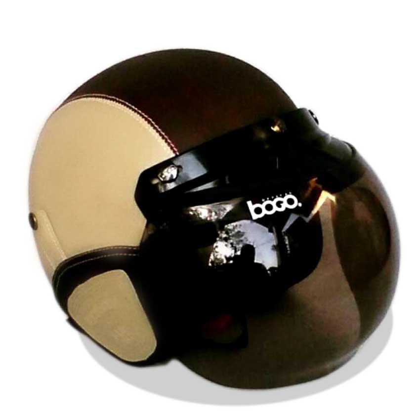 Helm Retro Bogo Kulit Klasik Kaca BOGO Original - CREAM COKLAT