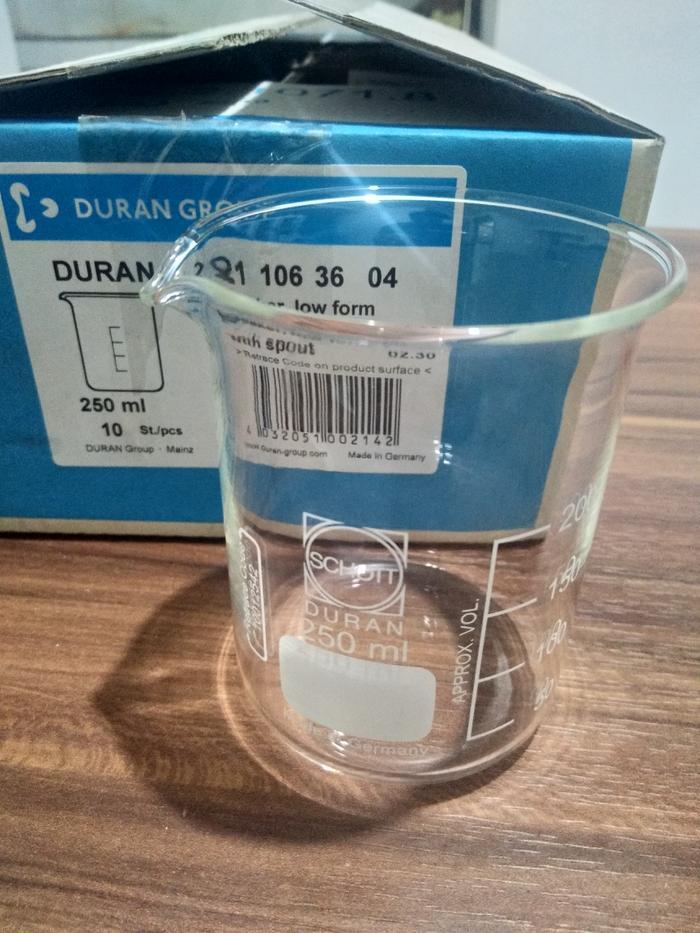 SALE - Beaker glass low form cap. 250 ml, DURAN/ Gelas piala