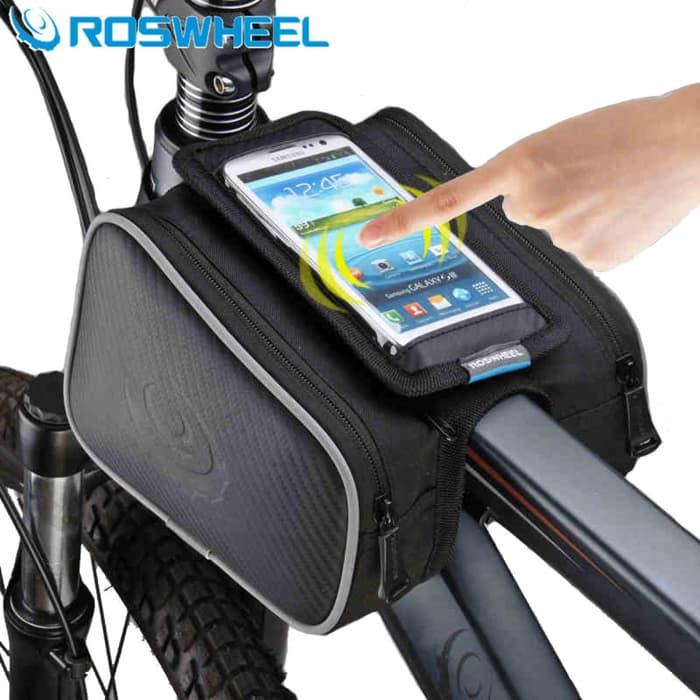 Tas Sepeda Waterproof Roswheel dengan Case HP Max 5.5 Inch Bagus