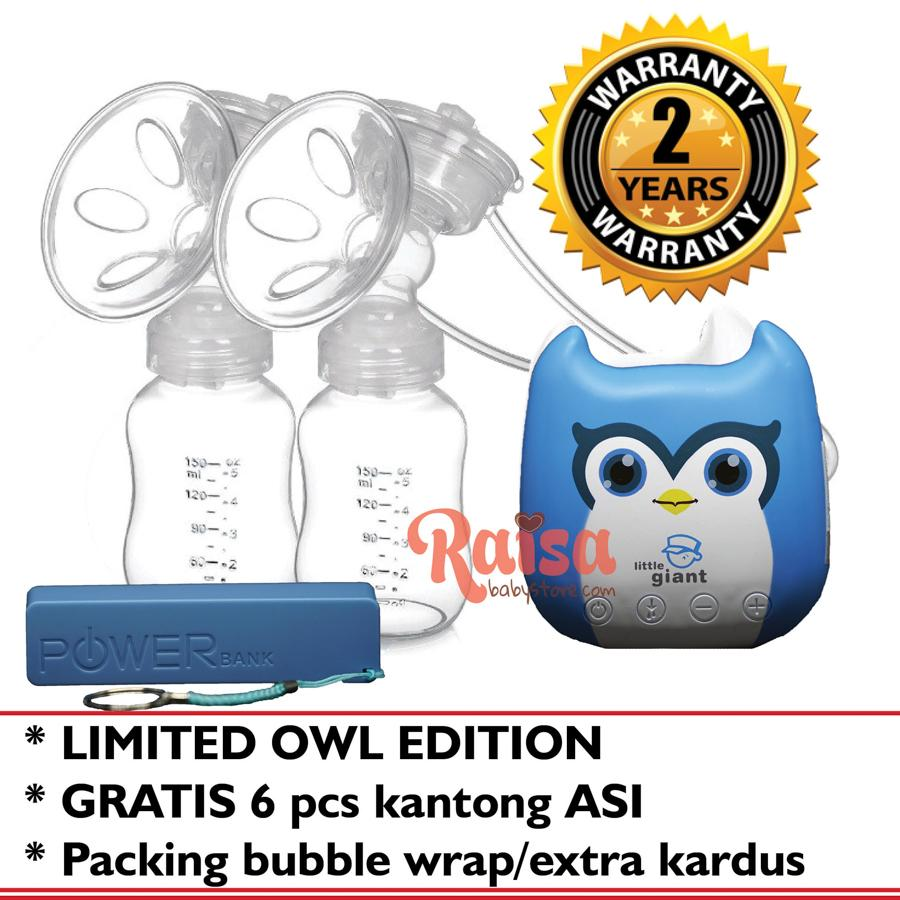 Little Giant Nano Limited OWL Edition LG-6936 Double Electric Breastpump Pompa Asi Elektrik Double Pump Gratis 6 pcs Kantong ASI
