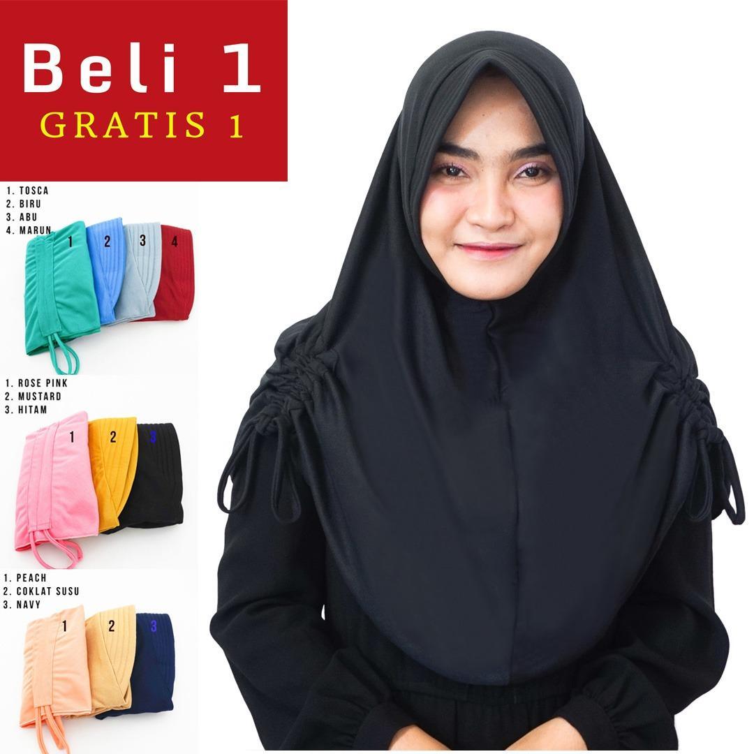 PROMO 1 GRATIS 1 Kerudung Instan Hijab Najwa PAD/PED Serut Jilbab Instan Kerudung Khimar Instan