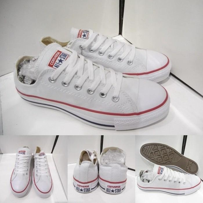 Sepatu Casual Harian Sekolah Kuliah Converse Allstar CT Mono Full White Putih Low Pria Wanita Couple+BOK