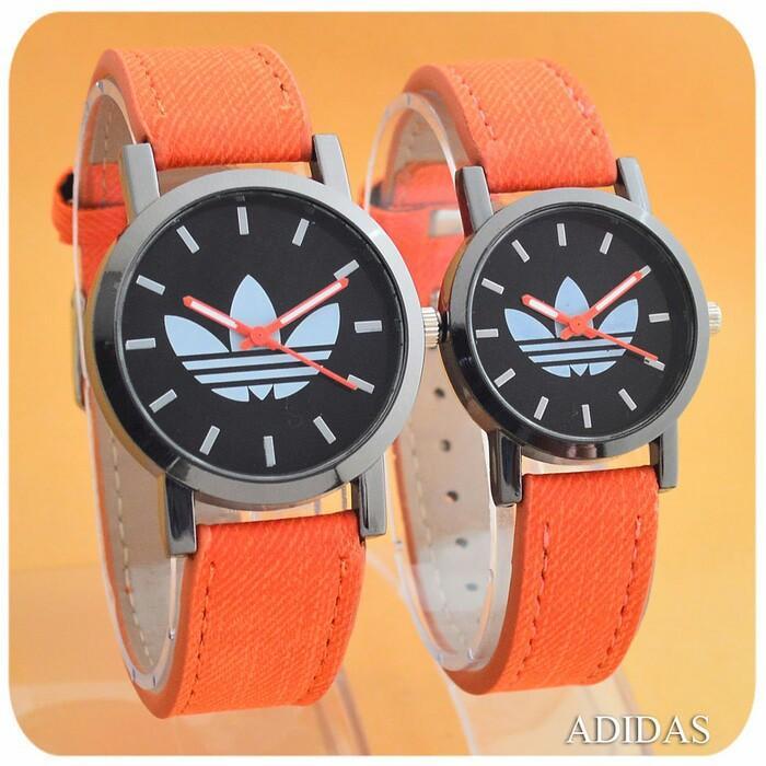 Jam Tangan Couple / Pasangan Murah Adidas Couple Leather Orange