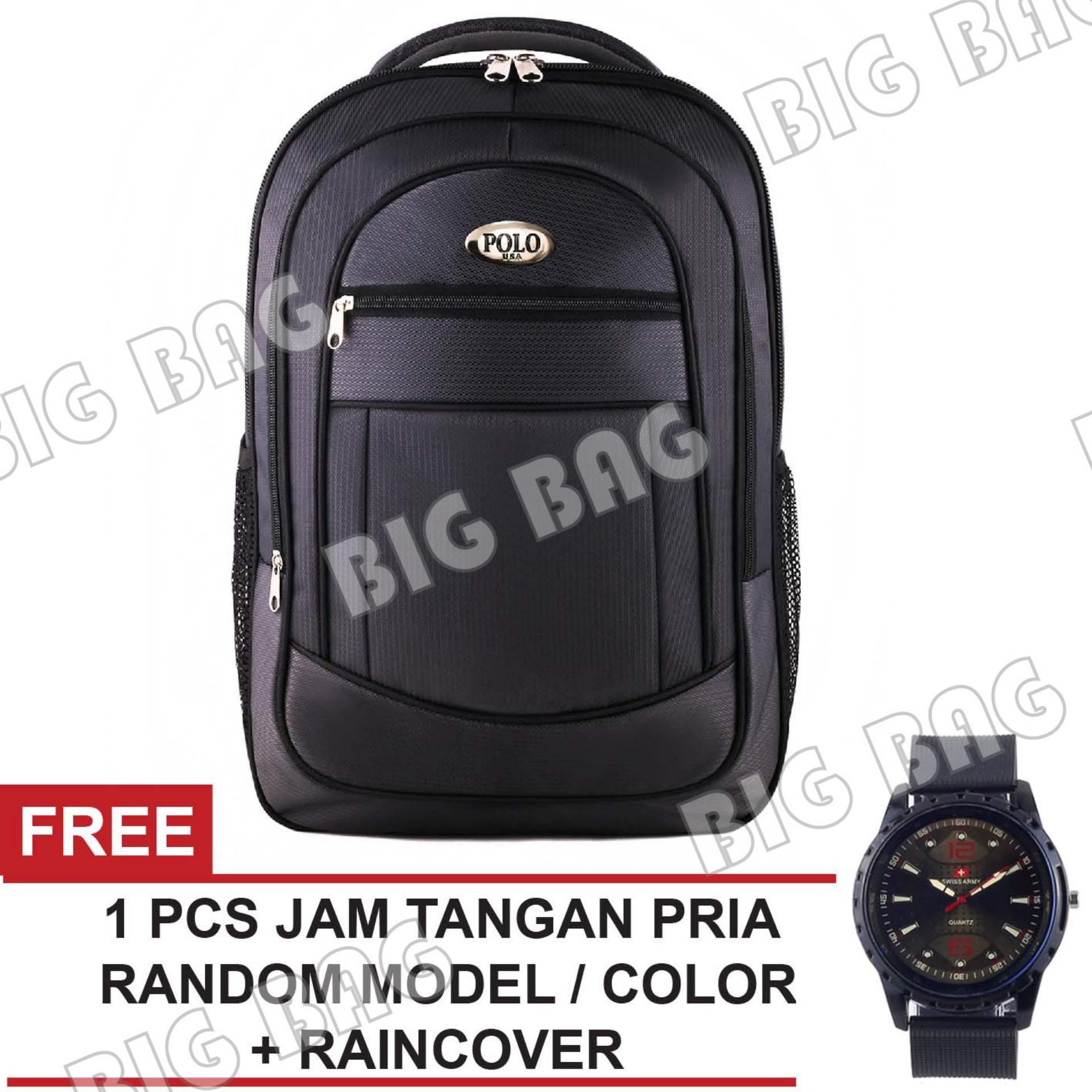 Tas Ransel Polo USA Tiger Snake Tas Laptop Backpack - Grey + Raincover + FREE Jam Tangan Pria ( RANDOM MODEL + COLOR ) Tas Pria Tas Kerja Tas Sekolah Tas Fashion Pria