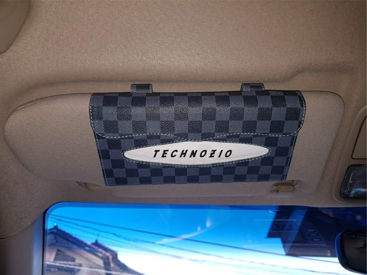 TECHNOZIO Tissue Sunvisor / Tempat Tissue Mobil Motif Abu Skak