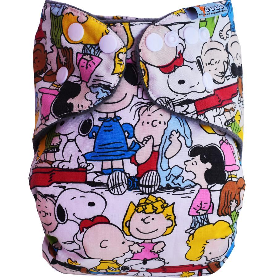 Faaza Store Clodi 1 Cover With 2 Insert Popok Kain / Cloth Diaper Inner Charcoal - Komik