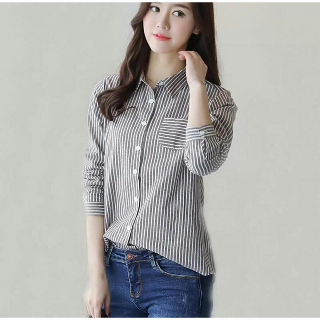 ... vshopjkt Km marisa stripe Fashionable blouse bagus blus bagus kualitas baik baju wanita atasan wanita top