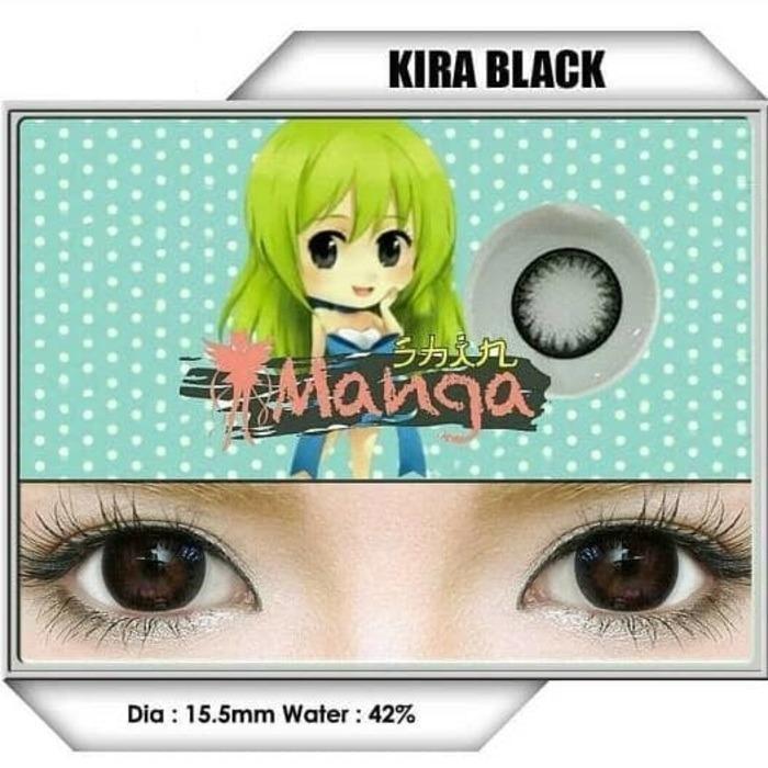 Softlens SHIN MANGA 1 tone KIRA BLACK NORMAL free 1 pc lenscase