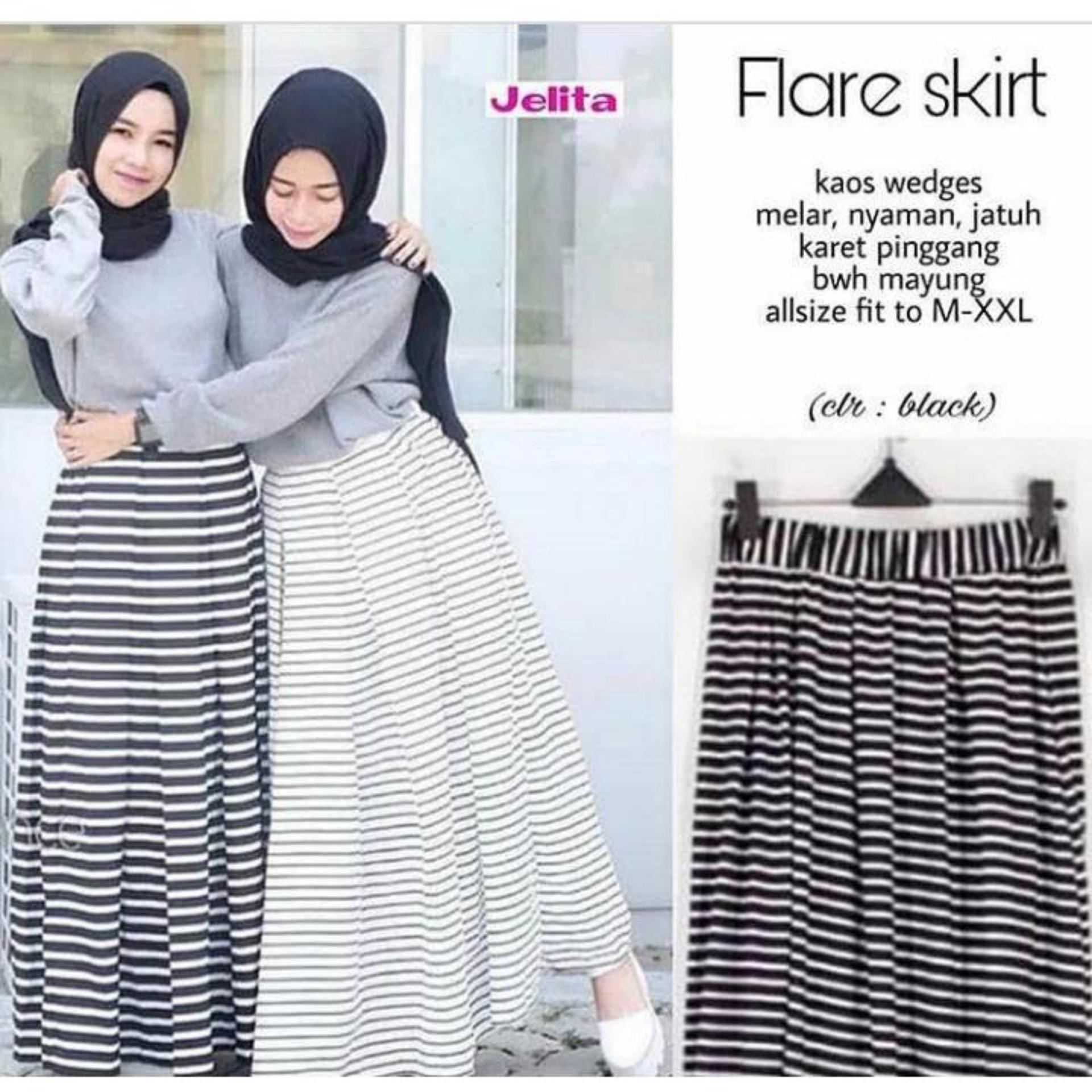 Rok Flare Skirt Midi Panjang 50cm RK100IDR58000. Rp 58.000