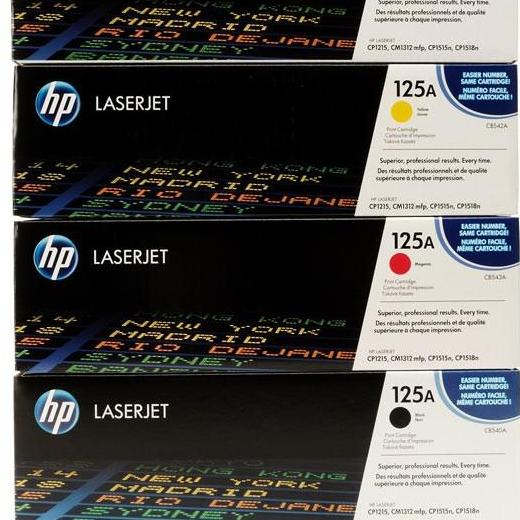 TONER CARTRIDGE ORIGINAL HP LASERJET 125A BLACK, CYAN, YELLOW, MAGENTA (HP Color LaserJet CP1515n and CP1518ni , HP Color LaserJet CP1215, HP Color LaserJet CM1312 MFP)