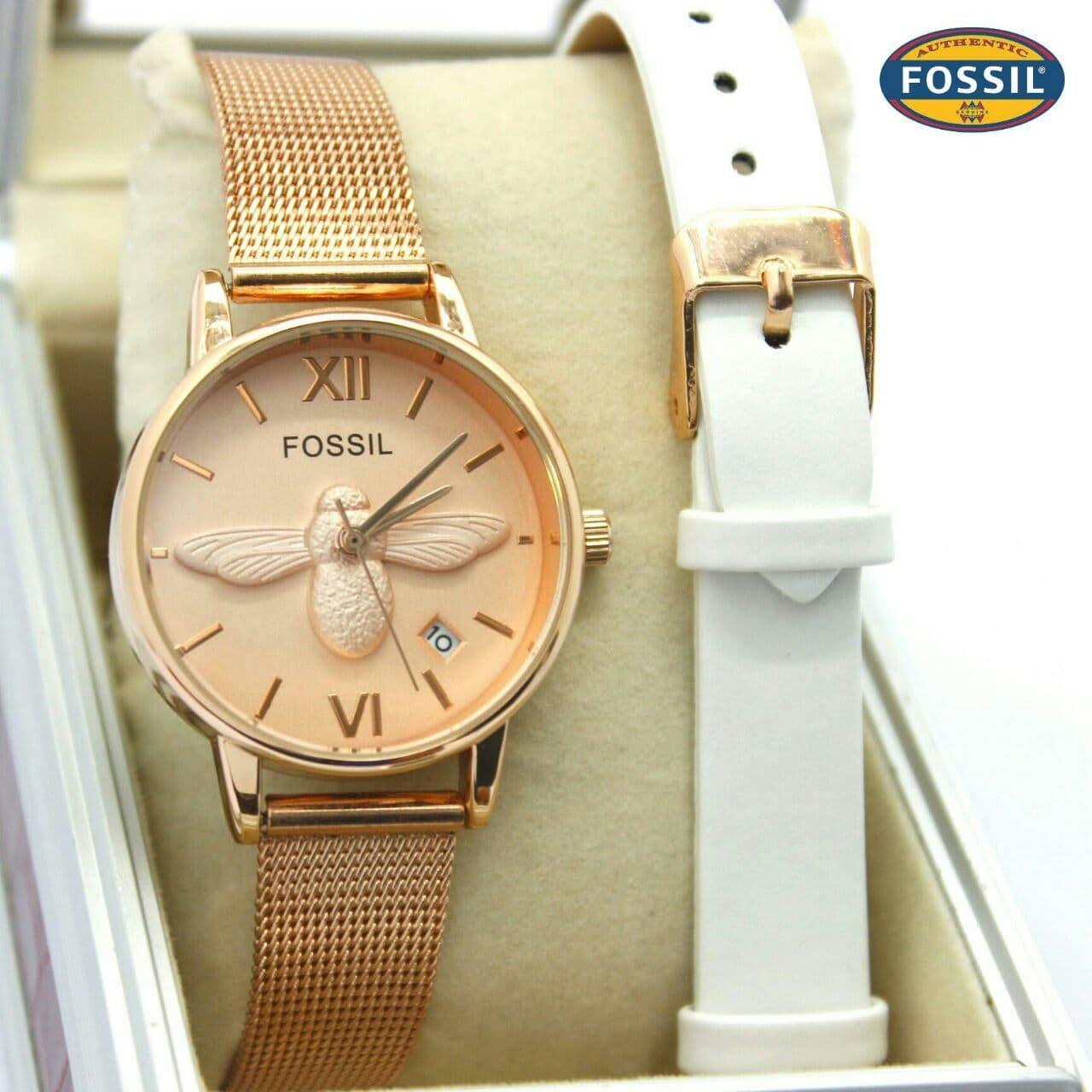 Harga Jam Tangan Fossil Wanita Rose Gold Termurah November 2018 Original Es3988 Jacqueline Blush Leather 1371 Paket Lebah Rantai