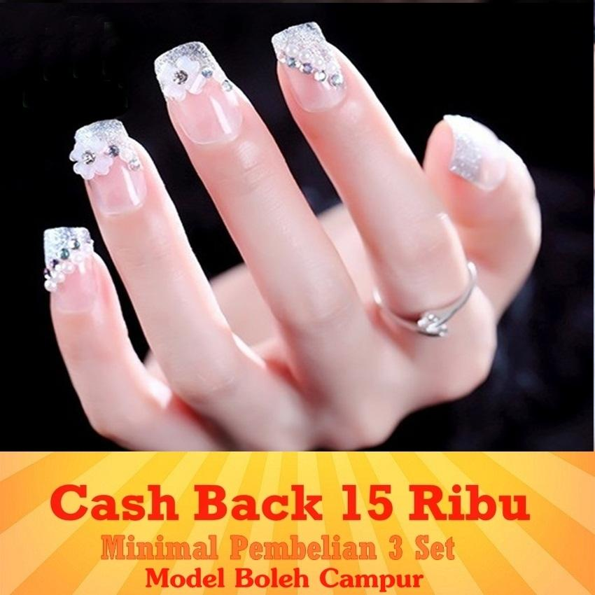 JBS Nails kuku palsu Wedding FREE ONGKIR Fake Nail 3D - A-34