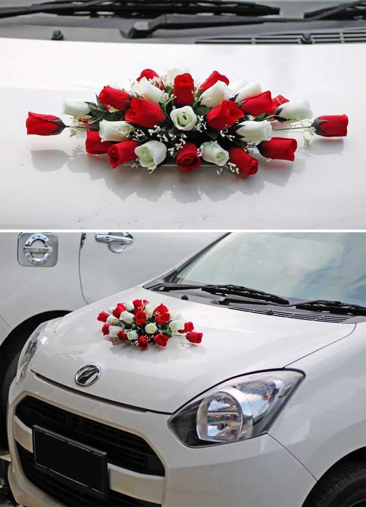 bunga plastik hias artificial mobil pengantin / flower wedding car 7