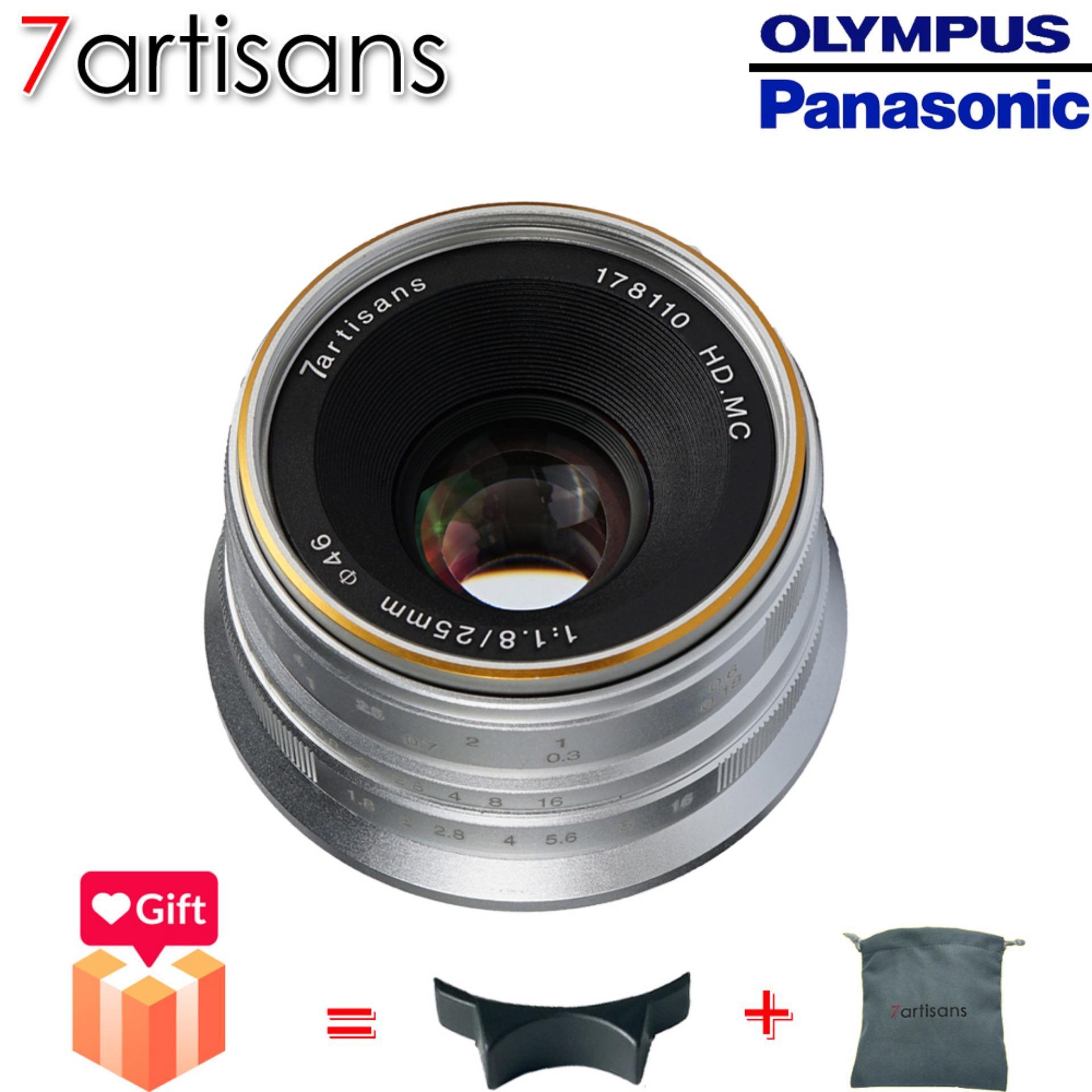 7artisans 25mm F1.8 Manual Lensa Tetap untuk M4/3 Gunung Kamera Panasonic G1 G2 G3 G4 G5 G6 G7 GF1 GF2 GF3 GF5 GF6 GM1 Olympus E-PM1 E-PM2 E-PL1 E-PL2 E-PL3 E-PL5 (Hitam/Perak)