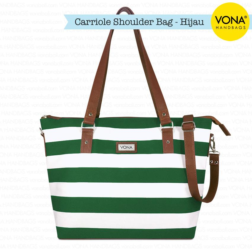 VONA Carriole (Hijau Putih) - Tas Selempang Bahu Shoulder Bag Tali Panjang Kanvas Nautical Stripe Garis Belang Blaster Putih Ringan Sling Handbag Wanita Remaja Cewek Ladies Women Best Seller New Branded Original Asli Korean Style Bali Fashion
