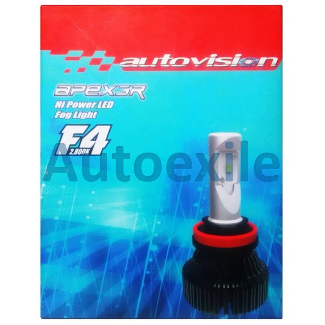 Autovision F4 LED H8 H9 H11 H16 15W 2800K Kuning Epistar F-4 Lampu Foglamp Mobil Garansi