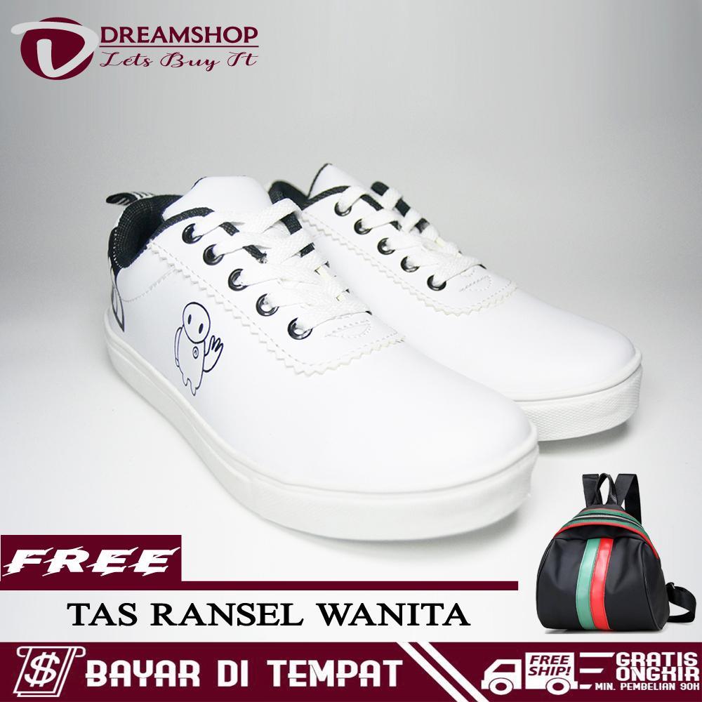 Dream Sepatu Wanita Sneakers Kets Kasual Campare H1 + Free Tas Ransel Wanita