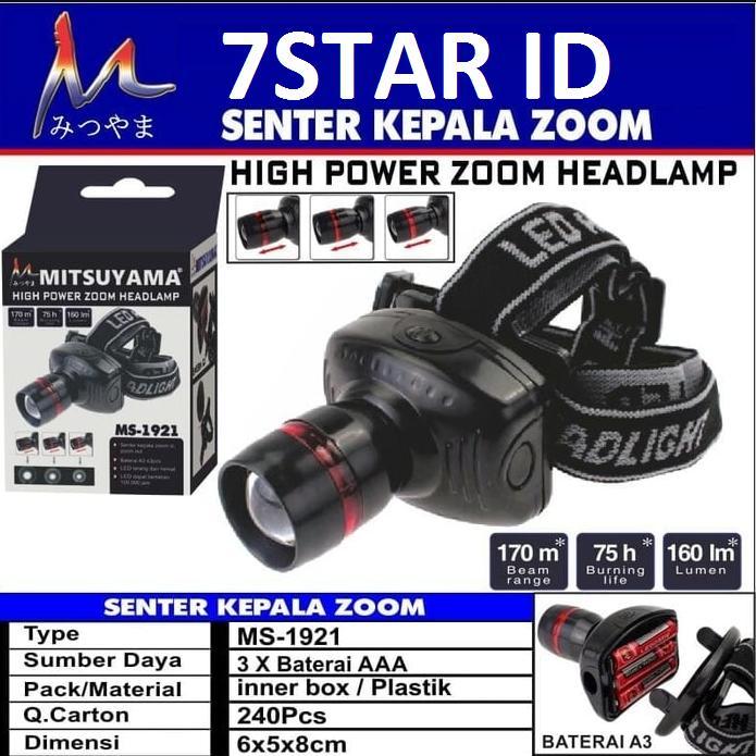 Senter Kepala LED Super Terang MITSUYAMA - Headlamp Senter Kepala Ajaib Power Zoom Kualitas Import -