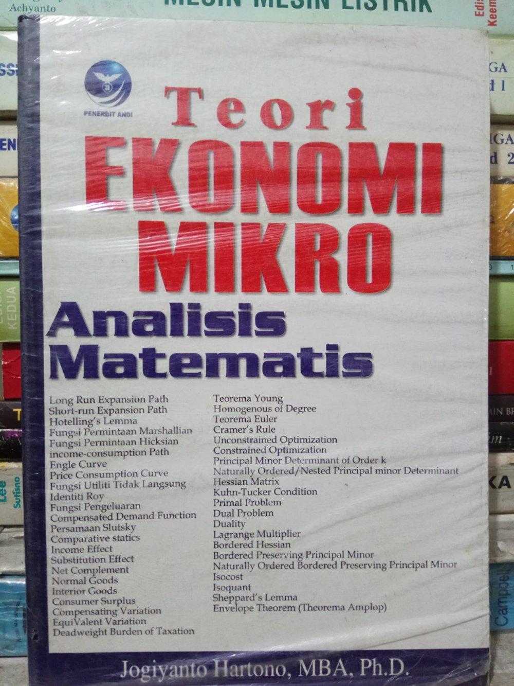 Buku Teori Ekonomi Mikro Analisis Matematis - Jogiyanto Hartono