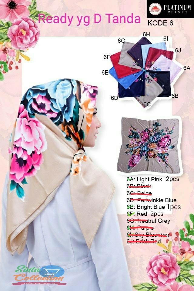Hijab/ / Jilbab / Kerudung segi empat Saudia By Sunny Original Motif Bunga wang_olshop