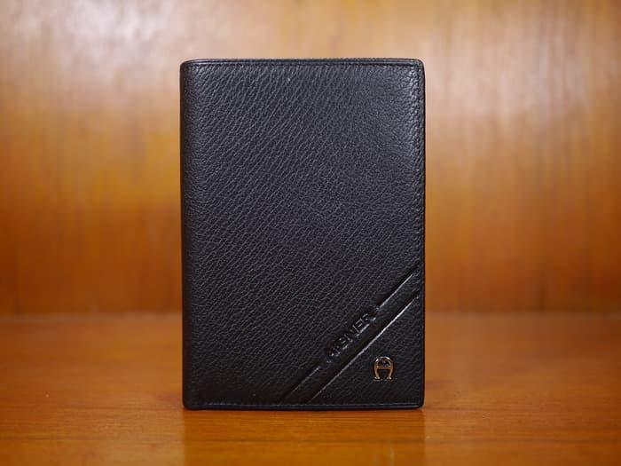 Harga Diskon!! Dompet Kulit Pria Tanggung Import Aigner Dt1401A-4 Black - ready stock