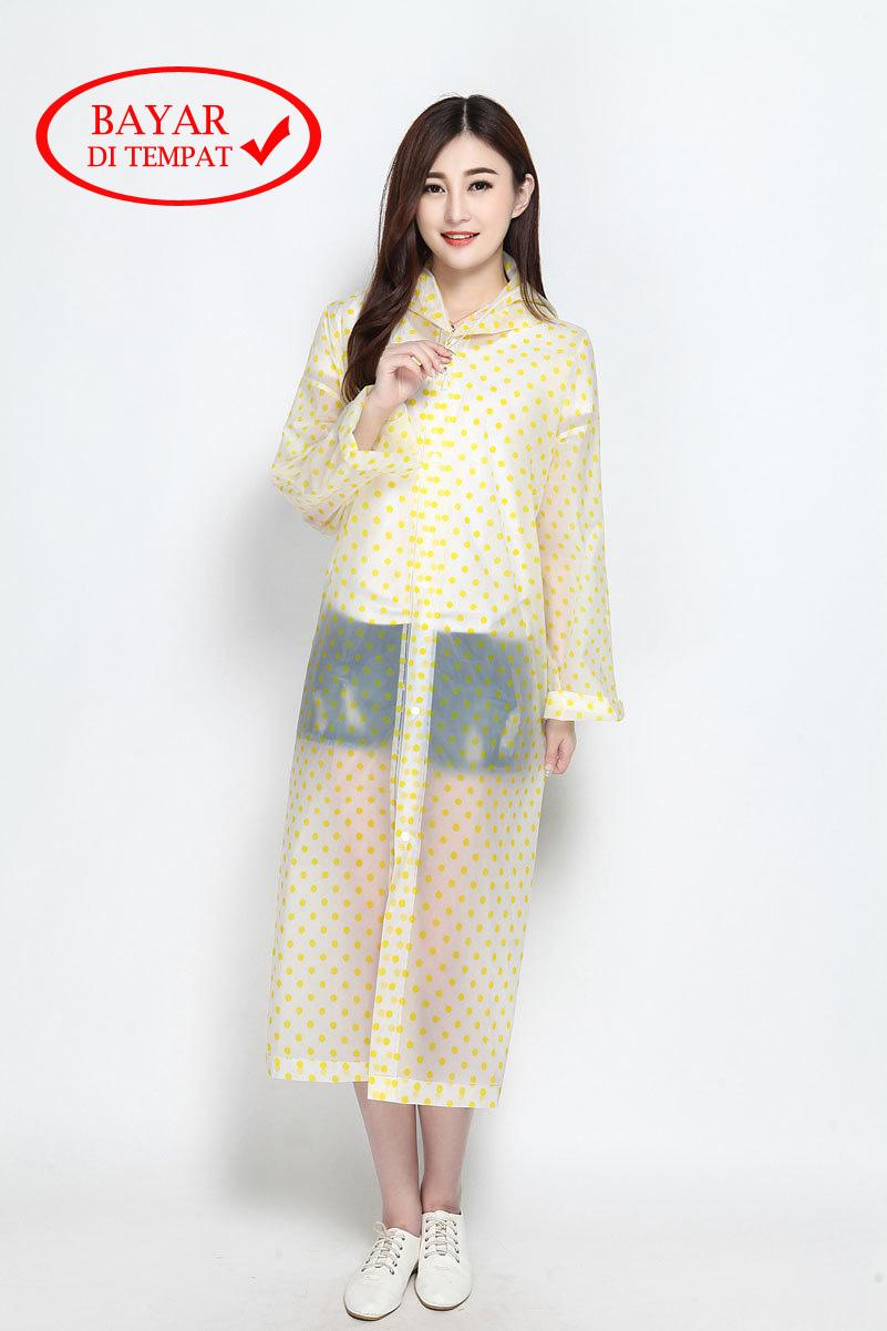 Jas Hujan Korean Style Plastic Polkadot Terusan Ponco Tahan Air By Life & Beauty.