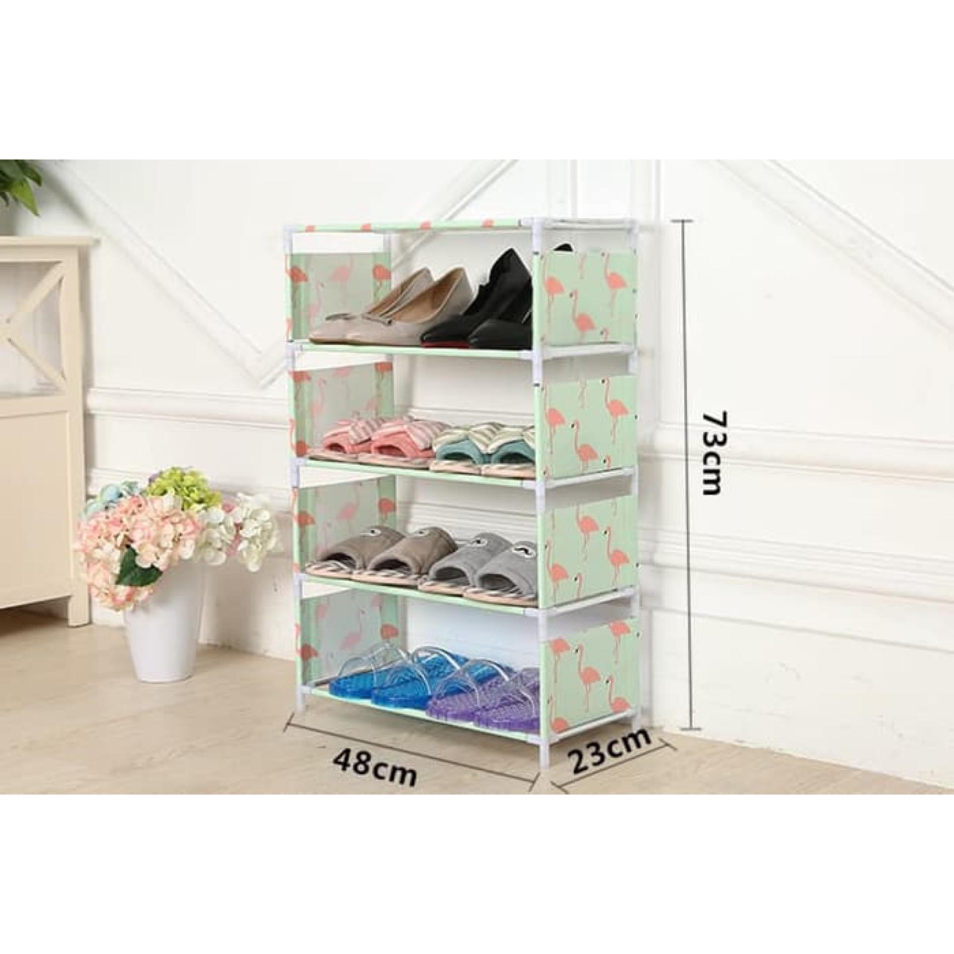 Lemari tempat penyimpanan lemari tempat sandal dan sepatu modern furniture Rak Sepatu Motif 5 Susun Tosca Flaminggo