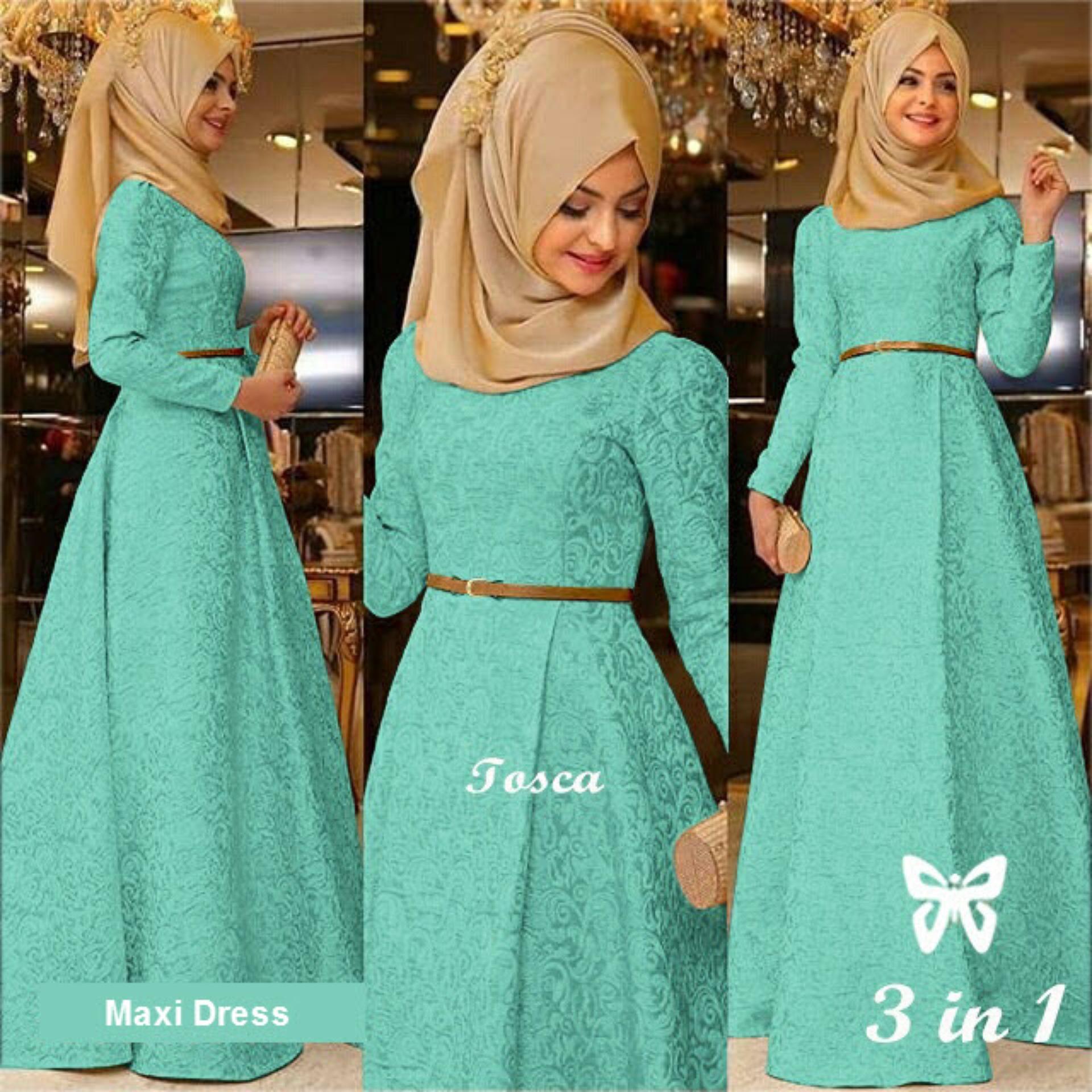 Jual Gamis Terbaru Terlengkap Hijab Zaina Syari Kerudung Panjang Jilbab Maxi Dress Lengan Set 3 In 1 Msr078 Gaun Pesta Muslimah