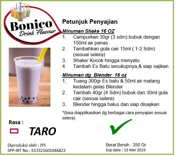 BONICO TARO powder 250gr Bubuk minuman UBI UNGU drink flavor powder Milk shake