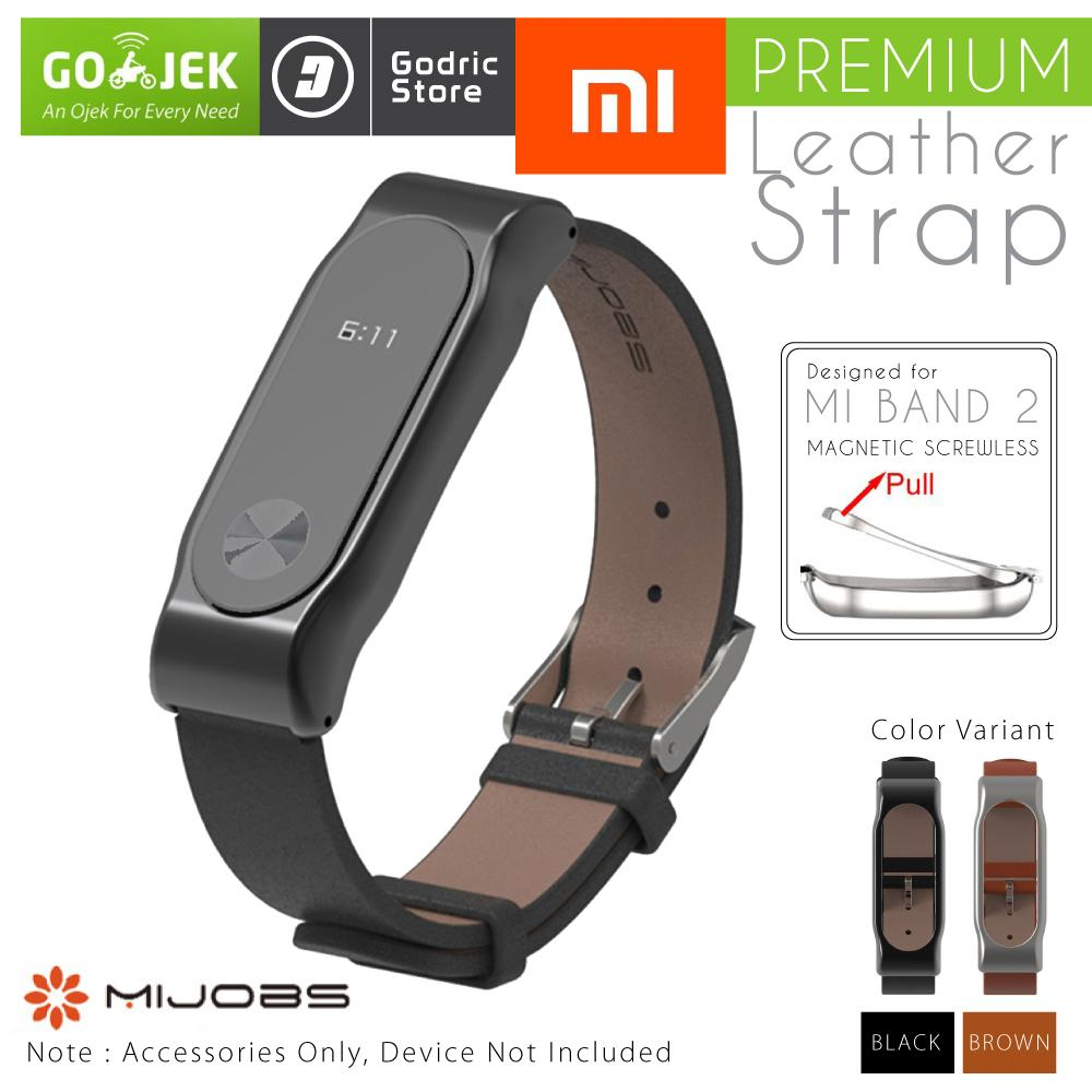 Mijobs Xiaomi Mi Band 2 Oled Strap Stainless Steel Silver Plis Leather Magnetic Shell For Original Hitam