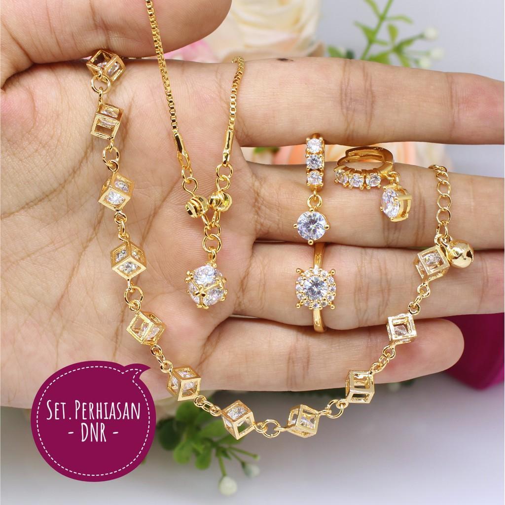 Harga Aksesoris Kalung Gelang Cincin Terbaru Daftar Fashion 1 Set Perhiasan Perak Lapis Emas Xuping