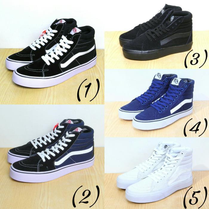 Sepatu Vans Sk8 Hi - Hitam, Hitam Kombinasi, Full Hitam, Navy, Putih - lXlNQ1