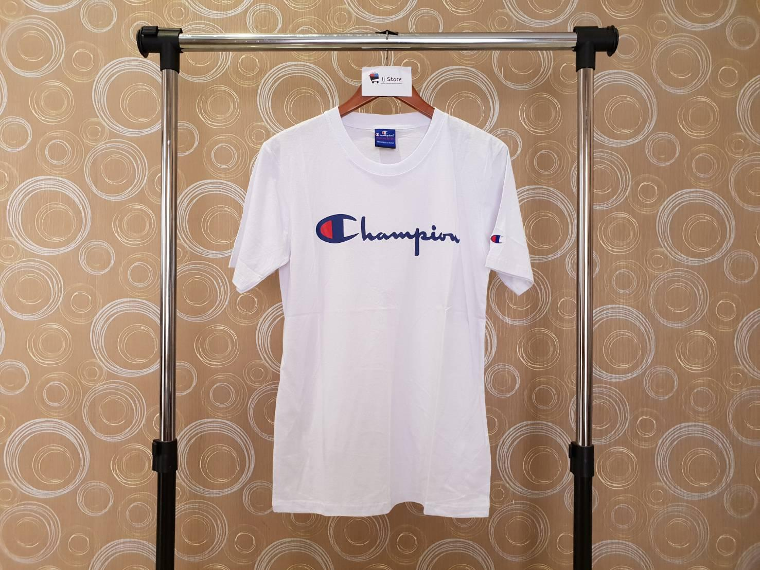 Kaos champion logo import distro high quality putih unisex