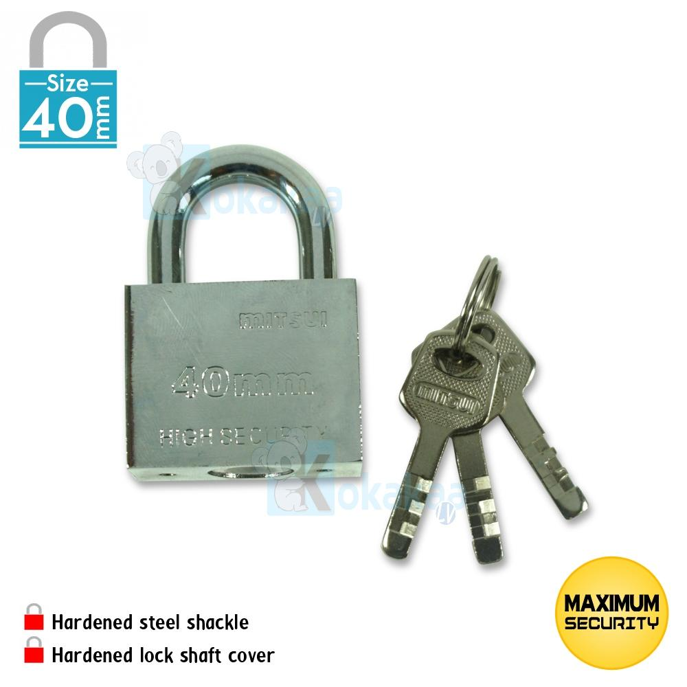Mitsui Gembok Baja Size Medium MPL 40mm High Security Padlock Anti Karat