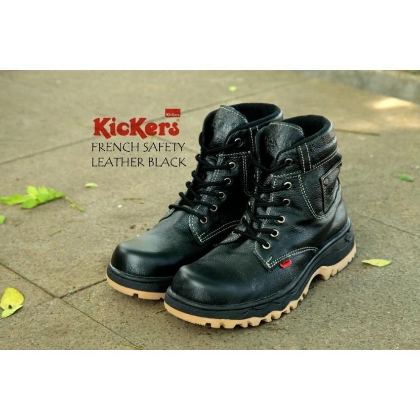 Sepatu Tracking Kickers Boots Safety Ujung Depan Besi Kerja Pria Hitam Full Black Coklat Tan Touring Motor