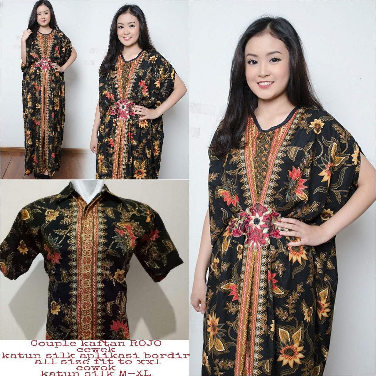 Cj collection Couple batik 2in1 dress maxi panjang gamis kaftan wanita jumbo long dress dan atasan kemeja pria shirt Elda M - XL