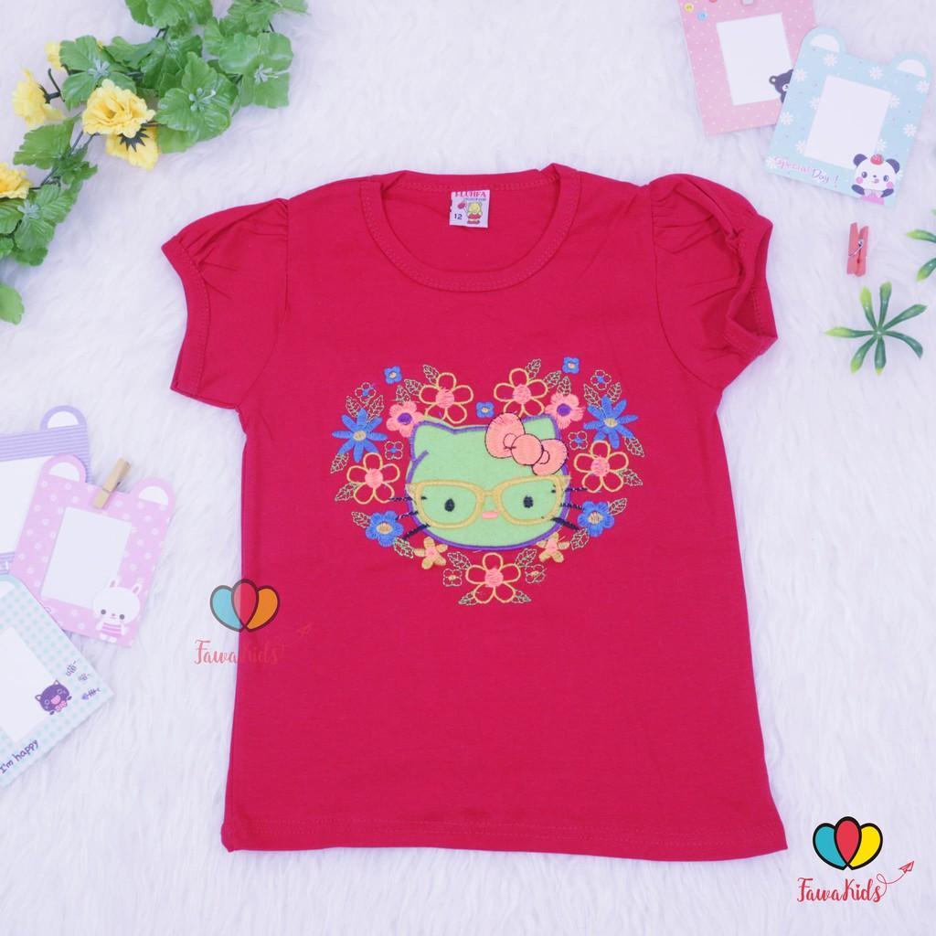 Kaos Bordir Uk 5-6Th / Kaos Balita Anak Perempuan Adem Katun Combed